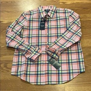 NWT! Chaps Icon Pink Multicolor Plaid Button Down